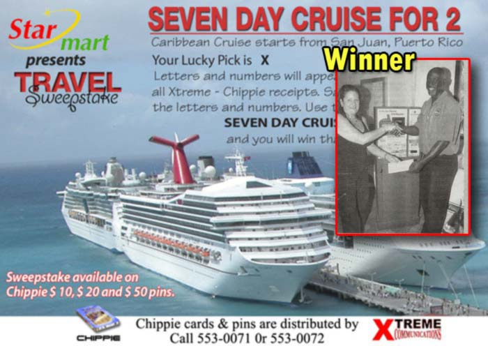 Xtreme =Win a Cruise for 2= Chippie Sweepstake winner